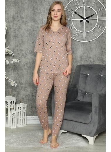 Akbeniz Kadın %100 Pamuk Penye Kısa Kol Pijama Takım 3316 Kahve